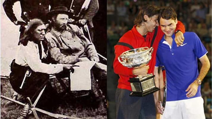 Custer abrazado tras su derrota en Little Big Horn. Federer abrazado tras sus lágrimas por la derrota en el Open de Australial 2009.