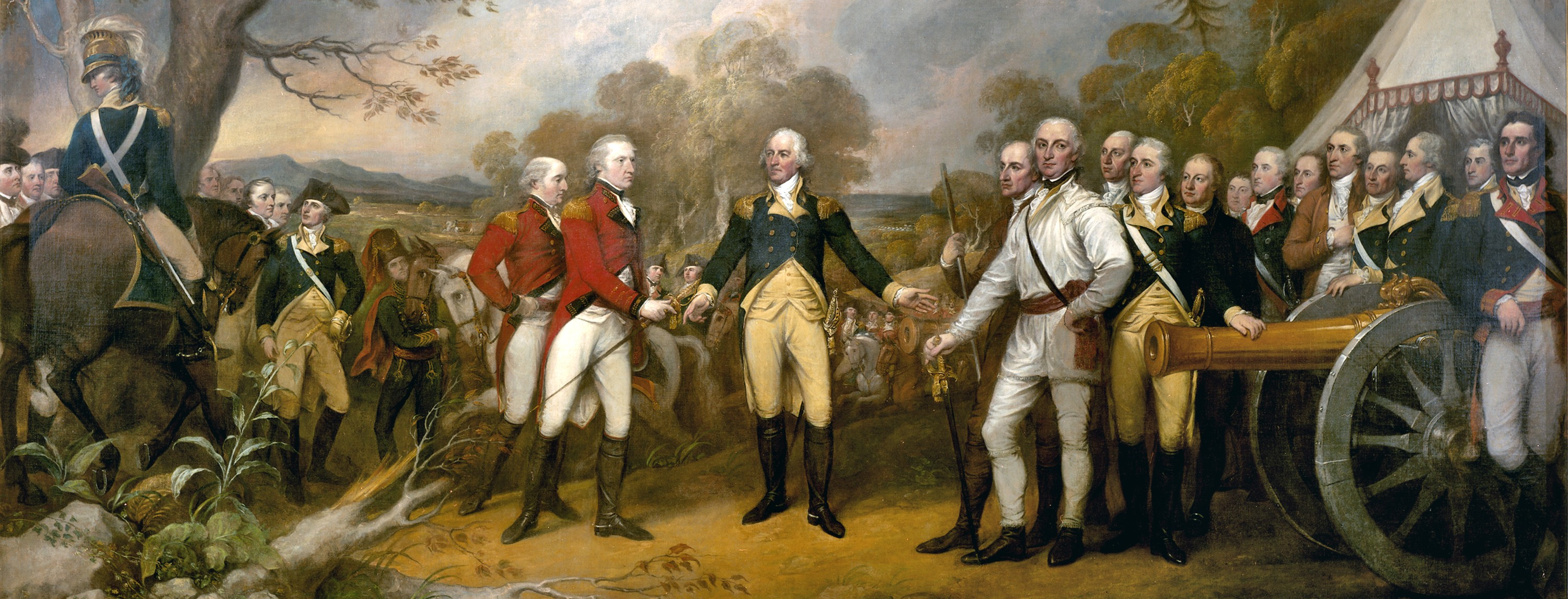 British general John Burgoyne surrenders at Saratoga in 1777