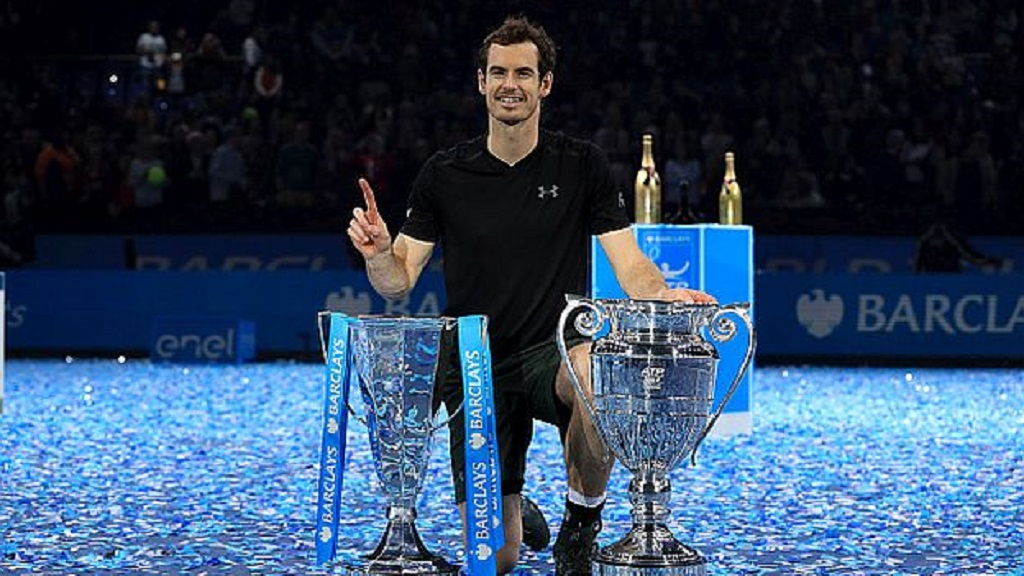 Andy Murray celebrates winning the championship during day eight of the Barclays ATP World Tour Finals at The O2, London. (Photo by Adam Davy/PA Images via Getty Images)